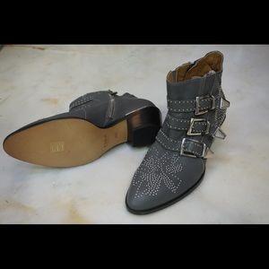 NIB Chloe Susanna Grey Ankle Boots Silver Hardware